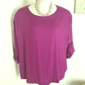 Soft surroundings purple twill top, cuffed 1x